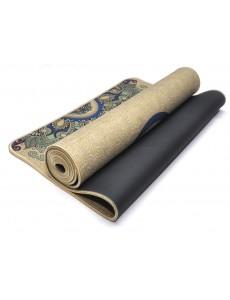 Коврик антискользящий для йоги и фитнеса (резина + ткань)