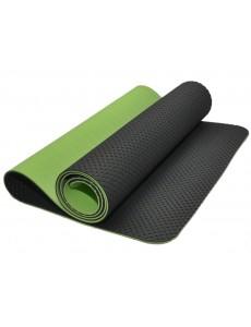 Коврик для йоги и фитнеса, трехслойный, полиэстер + хлопок (зелено-черный)