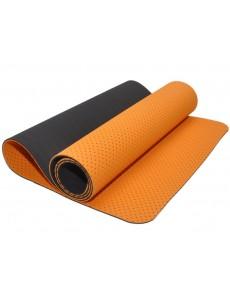Коврик для йоги и фитнеса, трехслойный с перфорацией (оранжево-черный)