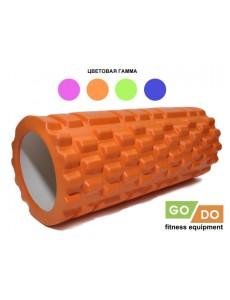 Валик (ролл) массажный жесткий рельефный для фитнеса и йоги 33 см