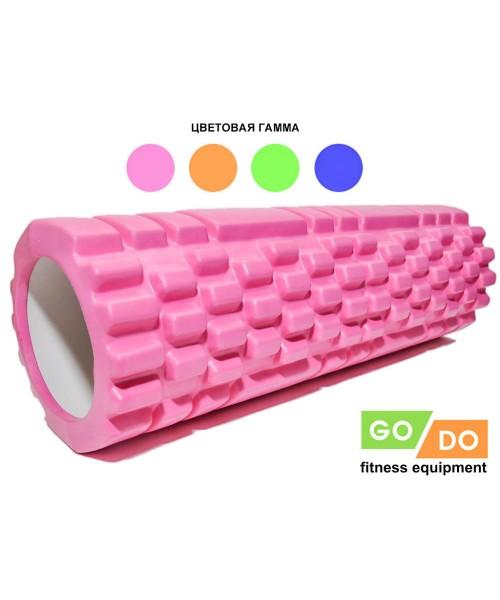 Валик (ролл) массажный жесткий рельефный для фитнеса и йоги 45 см
