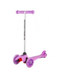 Самокат-кикборд Novatrack нежно-розовый (светящиеся колеса)